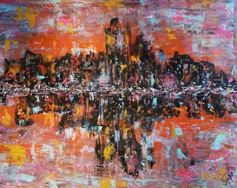 16x20 Vibrant Colorful Abstract Cityscape Skyline Acrylic Painting on Canvas with Free Shipping in USA