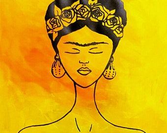 Frida Kahlo original screen print over paper.