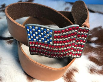 Vintage leather U.S. flag Gap belt