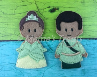 Tiana & Prince Naveen - Set of 2 Finger Puppets Inspired by Princess and the Frog