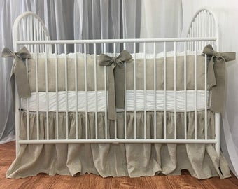 Crib Bedding Set – Linen Bumper trimmed with white ruffles and dark linen sash ties – Farmhouse style