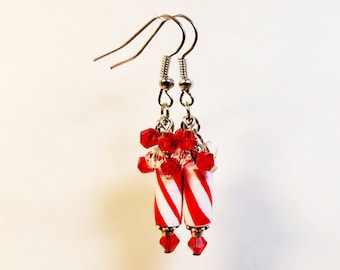 Candy Cane inspired paper bead earrings