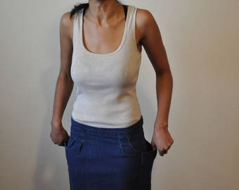 Vintage Early 1990s Denim Pencil Skirt With Side Pockets