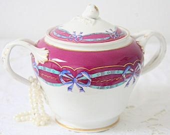 Beautiful Antique Large Porcelain Sugar Bowl, Chocolat Bowl, Handpainted Blue Bow Decor, Ornate Handles, France
