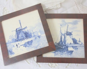 Set of Two Vintage Delft Blue Tiles in Wooden Frame, Wall Decor or Trivet, Dutch Landscape Decor