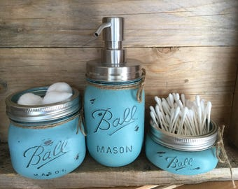 Painted Mason Jars. Bathroom Decor. Rustic Decor. Mason Jars. Rustic. Shabby Chic. Home Decor. Bathroom Set. Gift Ideas.