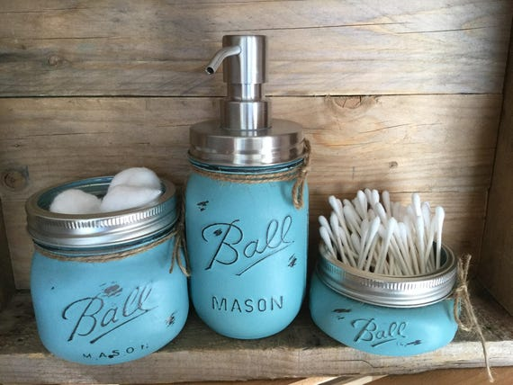 painted mason jars. bathroom decor. rustic decor. mason jars.