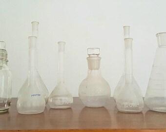 Lote tarros laboratorio antiguos / Antique laboratory flask  jar