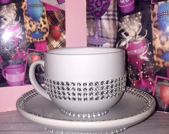 Tea for one sparkly blinged cup & saucer set GREY