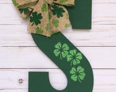 Monogram Door Hanger - St. Patricks Day Decor - St Paddys Decor - Door Hanger - Intial Door Decor - Door Hanger - Shamrock Decor