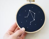 Libra Embroidery Hoop // Zodiac Gift // Constellation Art // Libra Sign Art // Libra Constellation // 4 Inch Hoop