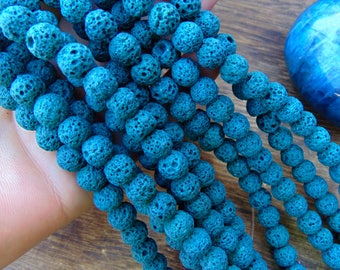 "8mm Dark Turquoise Lava Beads, 15"" strand. DIY jewelry making, oil diffuser beads, diffuser beads, beads for jewelry making,  #R8S-054"