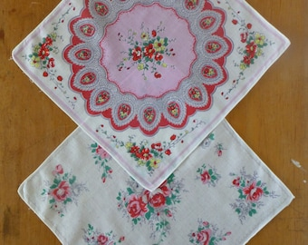 Pair of Vintage Printed Cotton Hankies 30cm sq