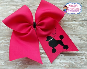Poodle Hair Bows,Poodle Cheer Bows,Cheer Poodle Hair Bow,Poodle Bows,Pink and Black Poodle Cheer Bows.