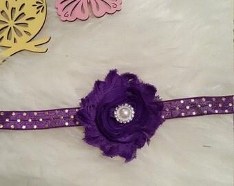 Miss Glitz and Glam purple,  gold and rhinestone headband bow