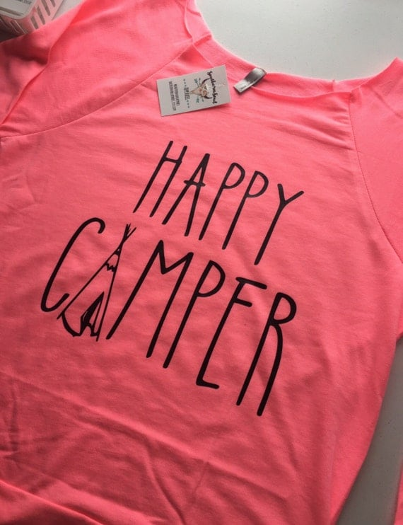 Happy Camper Tee Pee 3/4 Sleeve Raw Edge Raglan, Long Sleeve, Country Shirt, Country T Shirt, Country Long Sleeve, Country Concert