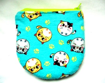 New! large coin pouch with cat made from cat fabric