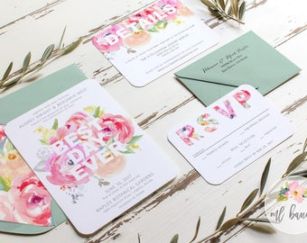Best Day Ever Watercolor Wedding Invitation Set in Pink  // Digital or Printed //