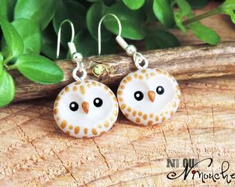 Nice golden earrings (fimo) little owl Hedwig harry potter hooks polymer clay owls owls head