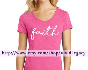 Faith script women's Soft V-Neck Shirt