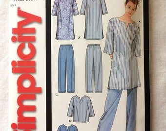 Simplicity 7050 UNCUT Misses Size Extra Small, Small, Medium, Large, Extra Large Pajama Pants, Top, and Nightshirt Pattern