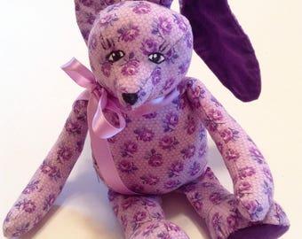 "Bunny, Easter Bunny, Plush Stuffed Bunny, Tiny Bunny, 8"" Tall, Bunny Rabbit, Handmade Bunny,Baby Nursery,Cuddly Bunny,Birthday Gift Z142"