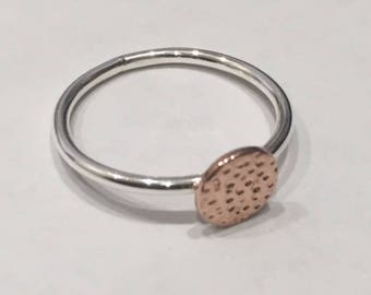 Silver/Rose Gold Hammer Disc Ring