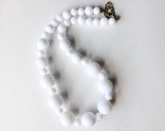 Vintage White Plastic Bead Necklace