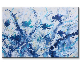 """FREE SHIPPING_Blue Blooms 36x24"""" Original Painting on Unstretched Canvas"""