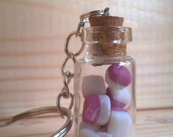 Retro sweets, Coconut Ice in Miniature Jar key-chain