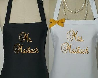 Personalized Mr. and Mrs. Aprons Gift Set - Bride and Grooms Aprons -His and Hers Aprons, Custom Colors Aprons, Blue Aprons