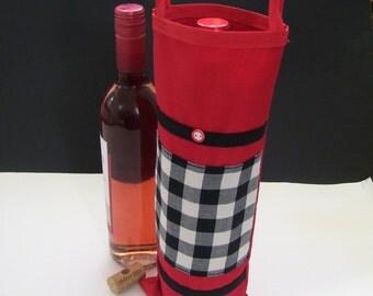 CHECKERED WINE BAGS - red checkered wine bags - checkered wine gift bags - checkered wine bags - red checkered wine bags -