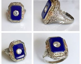 Art Deco Engagement Ring,1920s Engagement Ring,Antique Lapis Diamond Ring,1920s Diamond Ring,European Cut Diamond, Mine Cut Diamond,Size 6