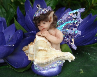 Fairy,Baby,in shell,Polymer Clay,Fantasy,Art,Doll,Collectible,Sculpture,