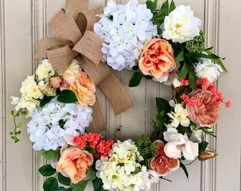 Spring Wreath, Pink Wreath, Hydrangea Wreath, Garden Wreath, Summer Garden Wreath, Pink Summer Wreath, Pink Spring Wreath, Mother's Day Gift