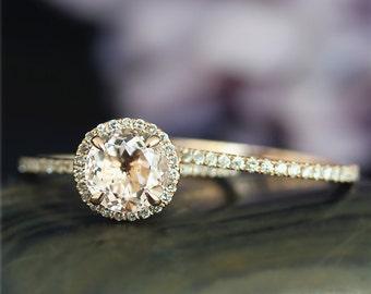14K Rose Gold Engagement Ring Set Handmade 7mm Round Natural Morganite Ring Set Solid 14K Gold Ring Set Wedding Ring Set Promise Ring