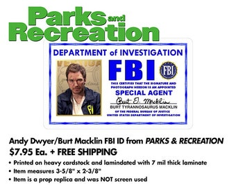 Parks and Recreation - Andy Dwyer / Burt Macklin FBI ID Badge - Printed/Laminated