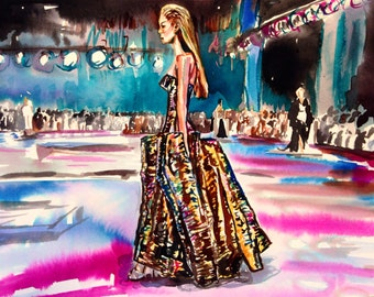 Original watercolor and ink fashion illustration by Cris Clapp Logan