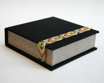 Box for Square Photos 4x4 in - Handmade of book cloth | for Instagram photos | Black and Beige Presentation Box | Photo Album | Keepsake