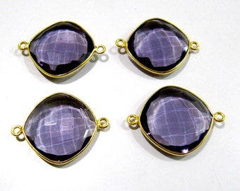 Beautiful Amethyst Cousin Shape Connector , Double Loop Bezel , Hydro Quartz Connector , 13 to 19mm Size YOU CHOOSE , Briolettes Connectors
