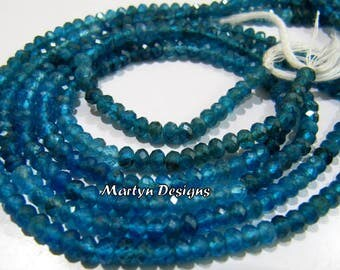 Amazing Quality Beautiful Neon Apatite Rondelle Faceted Beads , Natural Neon Apatite 3-4mm Diamond Cut Beads, Length 13 inch, Gemstone Beads