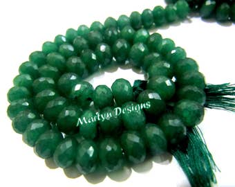 Beautiful Dyed Emerald Rondelle Faceted Beads , Size 8-9mm , Length 13 inch long , Emerald Gemstone Beads , Micro Faceted Gemstone Beads