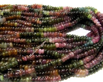 Best Quality Natural Multi Tourmaline Beads / Rondelle Smooth Beads 3-4 mm / Sold per Strand of 13 Inches Long / Watermelon Tourmaline Beads