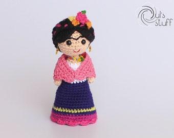Frida Kahlo amigurumi, crochet Frida Kahlo, Frida amigurumi, crochet Frida