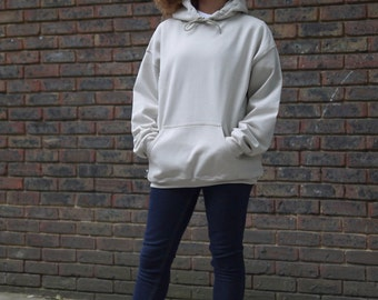 Baggy Oversized Soft Cotton Hoodie With Woven Label Detail in Sand Beige Streetwear Staple Basic Plain Essential RTS