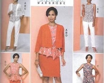 Misses Wardrobe, Jacket, Top, Dress, Pencil Skirt, Pants,  Sizes 14 Thru 22, New Butterick  Pattern 6463