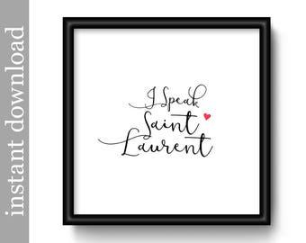 yves saint laurent fashion printable instant download fashion designer art fashion print - Wall Art Designer