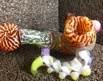 6 piece hand blown glass heady sherlock  with horn!