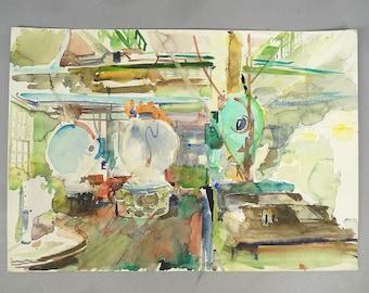 Watercolor Painting Original Walton Battershall Dye House Maslauds 1970