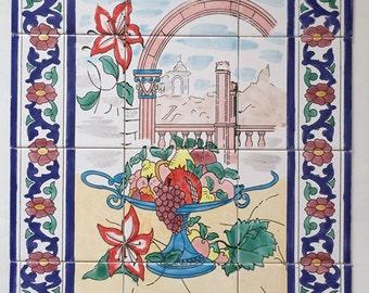 Hand Painted Ceramic Panel 60x80cm - Oriental Floral
